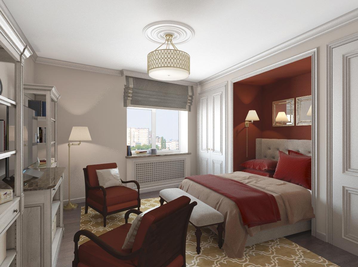 Спальня в другом ракурсе Дизайн-проект квартиры в стиле Арт Деко