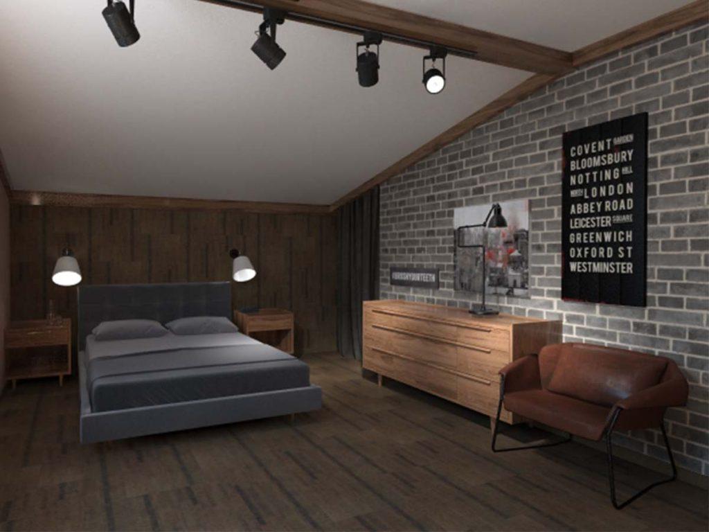 спальня Дизайн мансарды в загородном доме