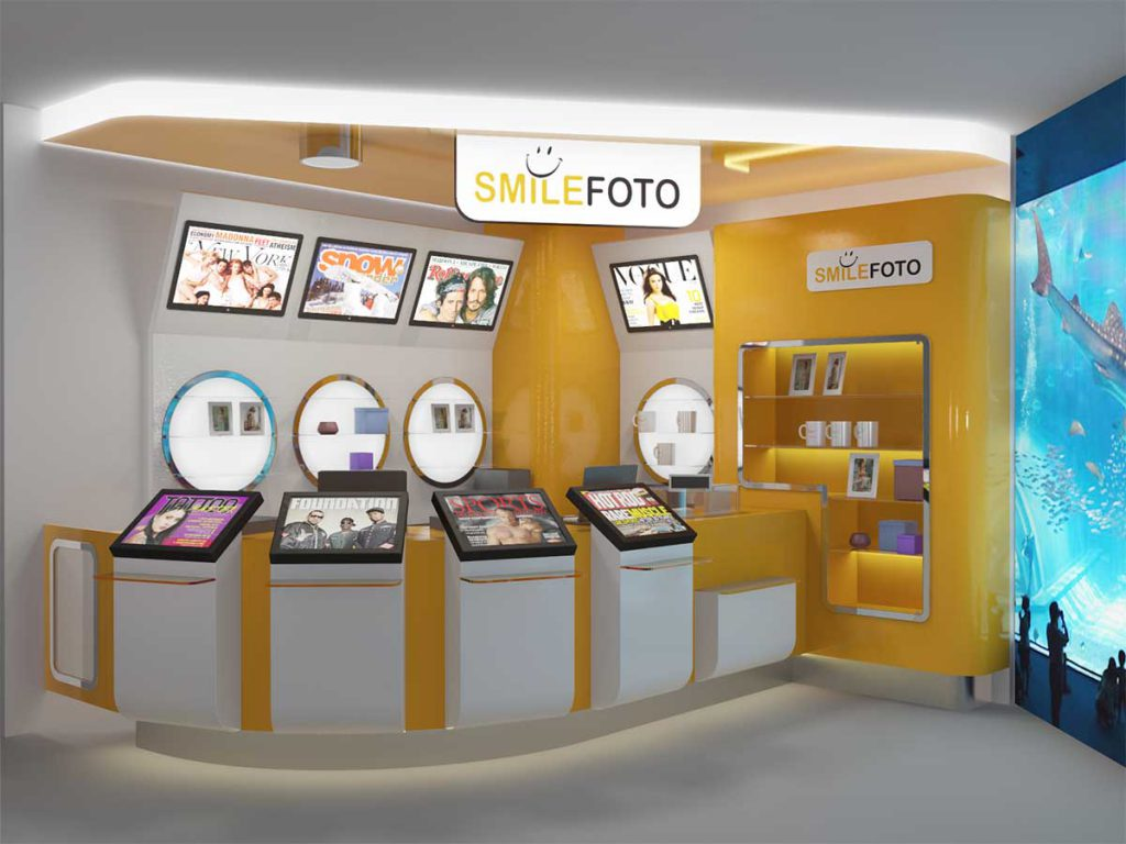 Ракурс 1 Дизайн-проект торгового острова фото-лаборатории Smile Foto