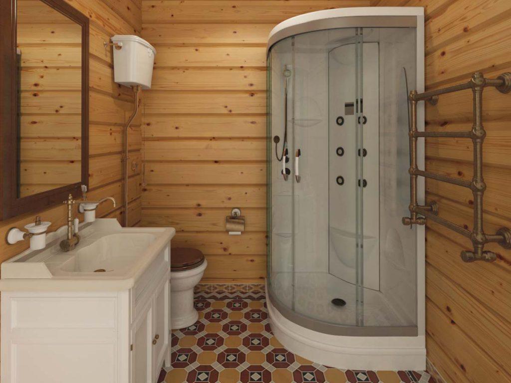 санузел в бане с душевой кабиной