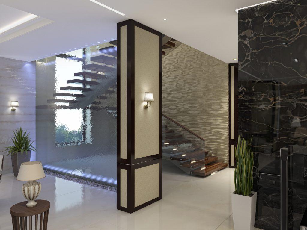 Лестница в холее дерево и стекло