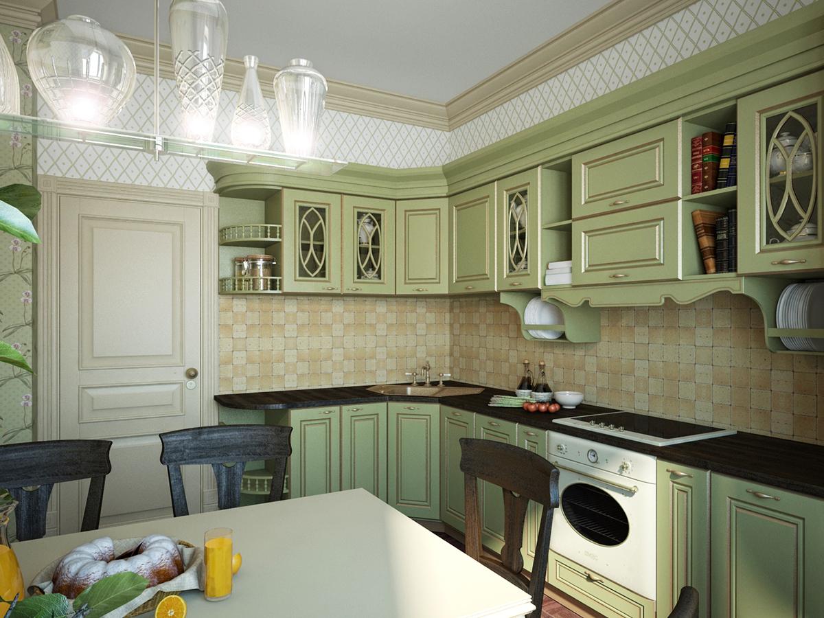 Кухня классический стиль фисташковая