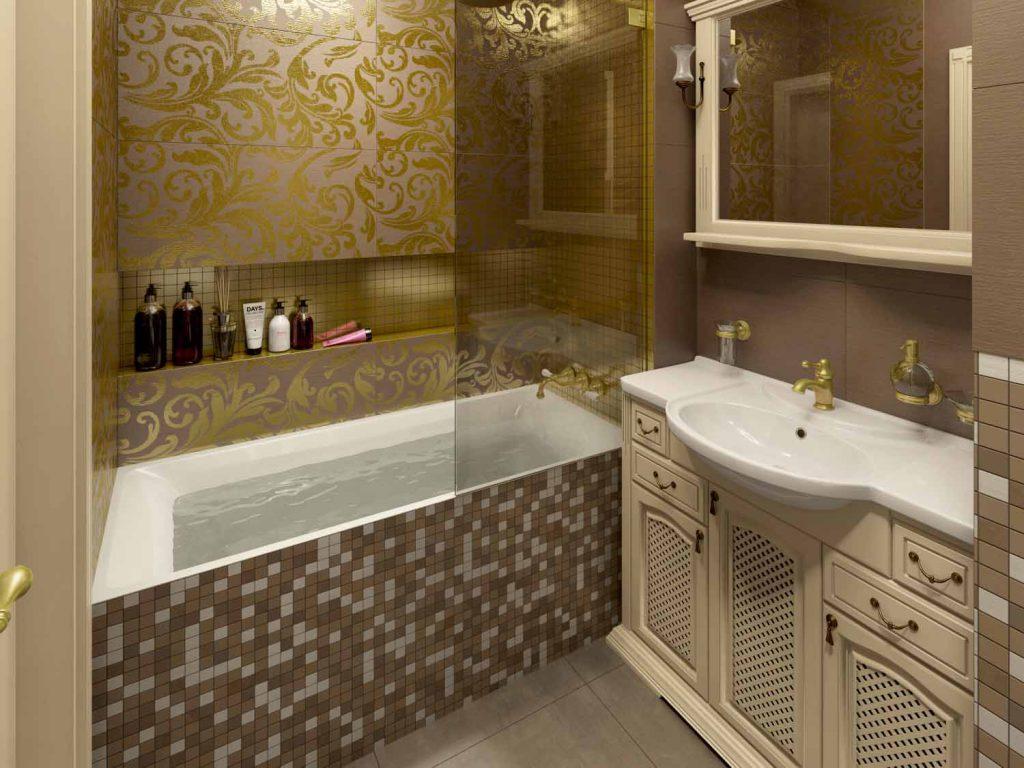 ванная с золотой отделкой классика