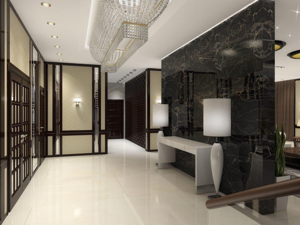 Холл в гостинице арт дэко мрамор
