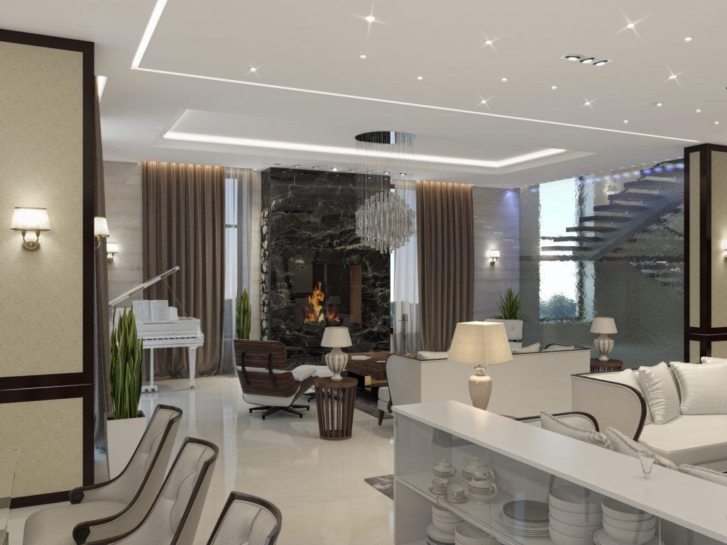 холл в гостинице с камином мрамор