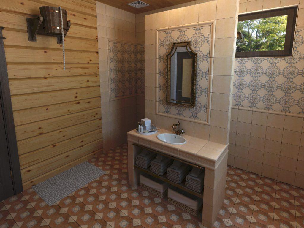 Санузел в бане с метлахской плиткой